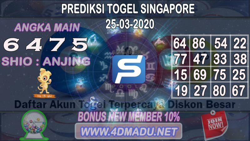PREDIKSI SINGAPORE POOLS 25 MARET 2020