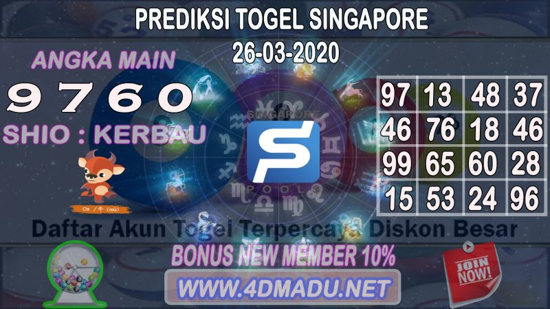 PREDIKSI SINGAPORE POOLS 26 MARET 2020
